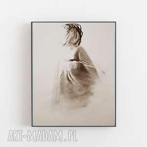 dom zarys kobiety 30x40, grafika artystyczna, czarno biała grafika