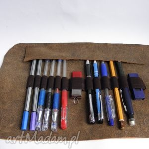 piórnik skórzany rolowany medium, piórnik, skóra, skórzany, szkoła, prezent, vintage