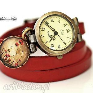 zegarki zegarek pole maków skóra, maki, pole, maków, zegarek, elegancja