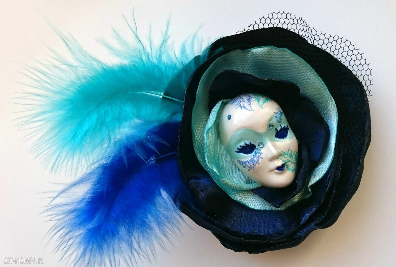 ręczne wykonanie broszki broszka zkolekcji masquerade - pierzasta