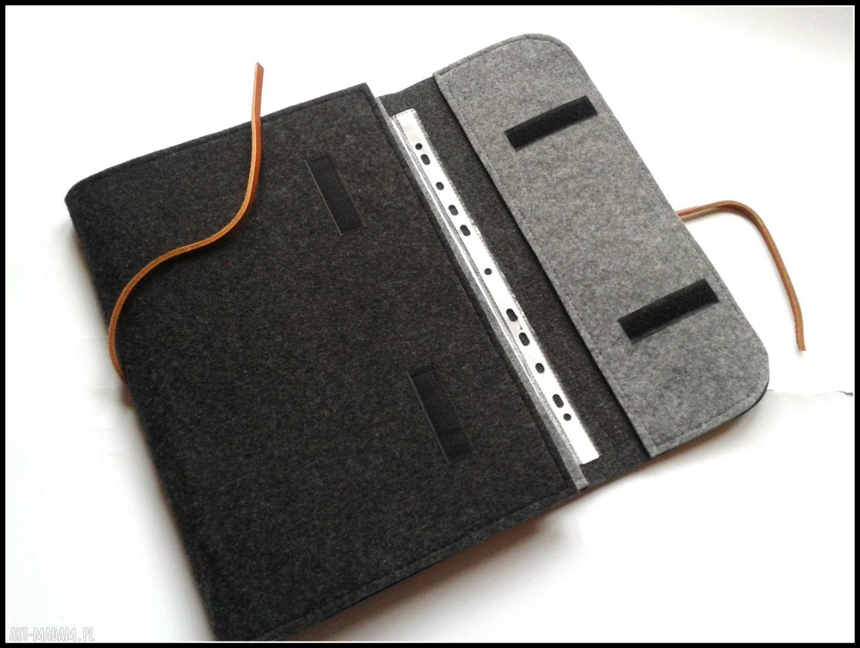 szare etui organizer na dokumenty laptop