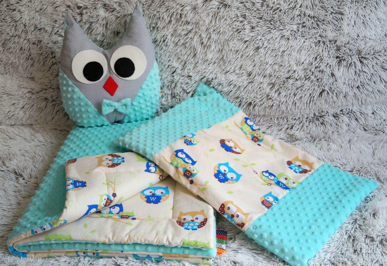 turkusowe maskotki sówka poduszka szaro- miętowa