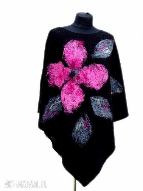 różowe poncho filcowane ponczo różowy kwiat