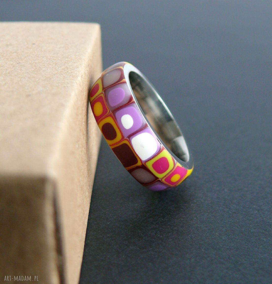 fioletowe obrączki pierścionki stalowa obrączka z polymer clay