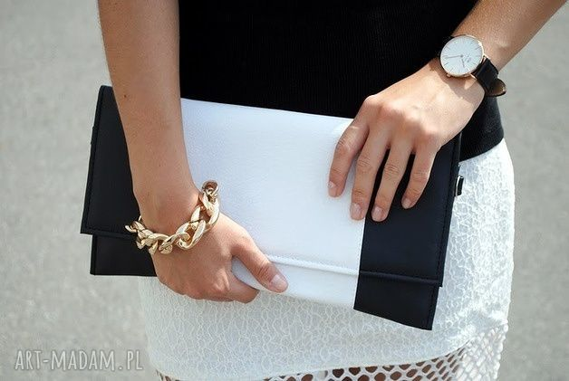 czarne kopertówki elegancka kopertówka - czarna i środek fuksja