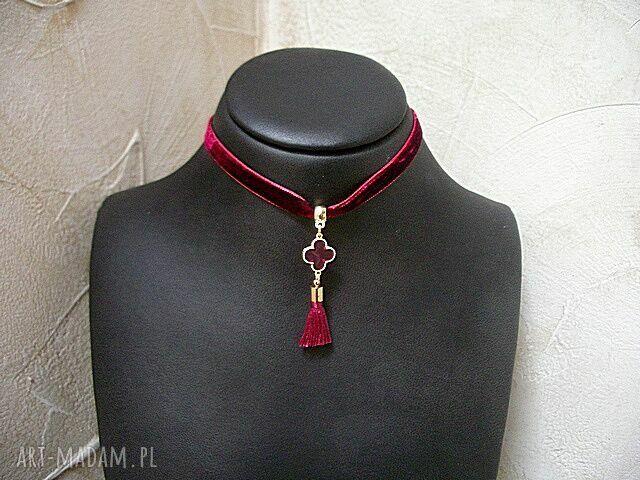 choker naszyjniki burgund /chwost/ - naszyjnik