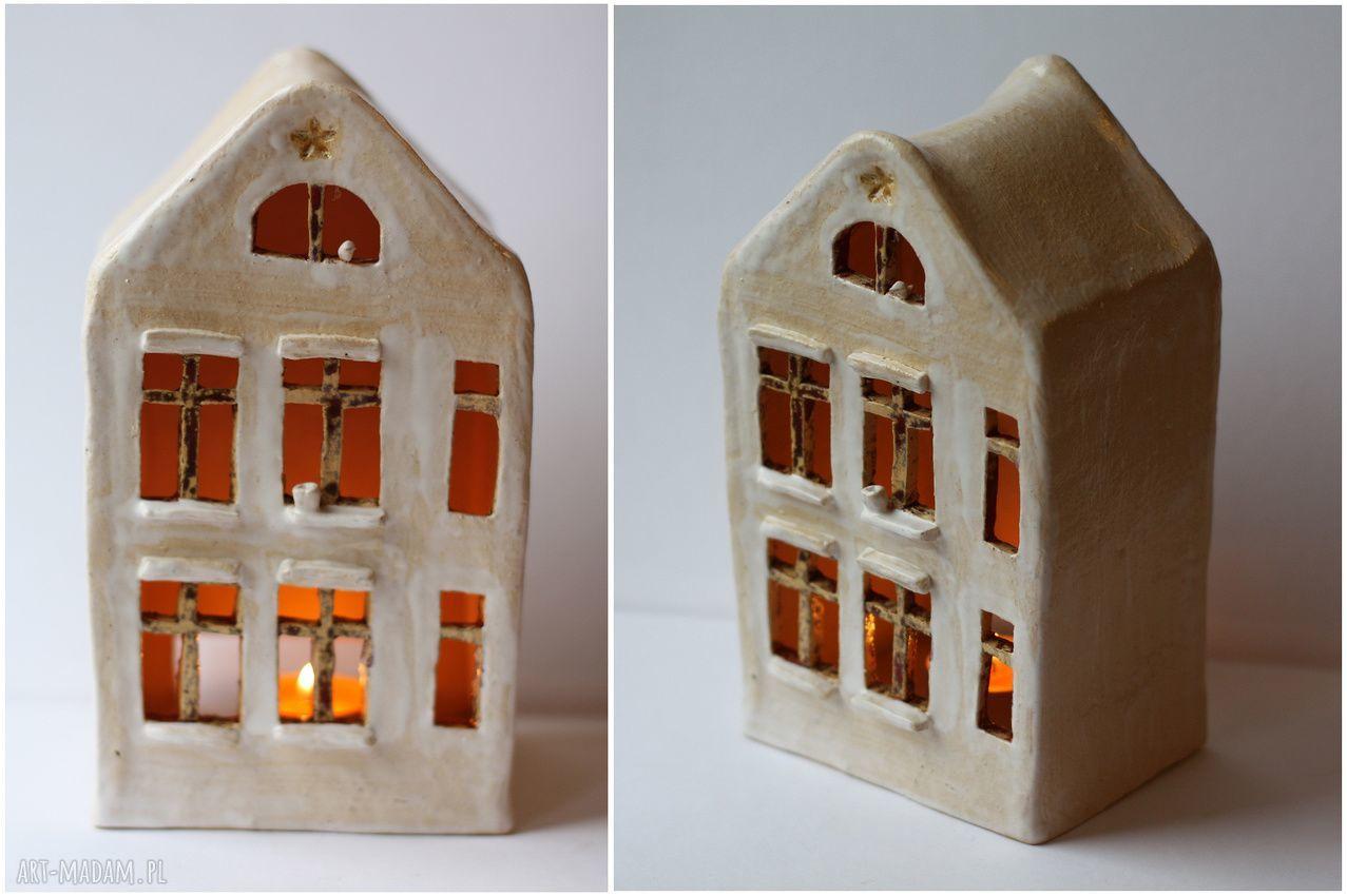 handmade ceramika domek lampion