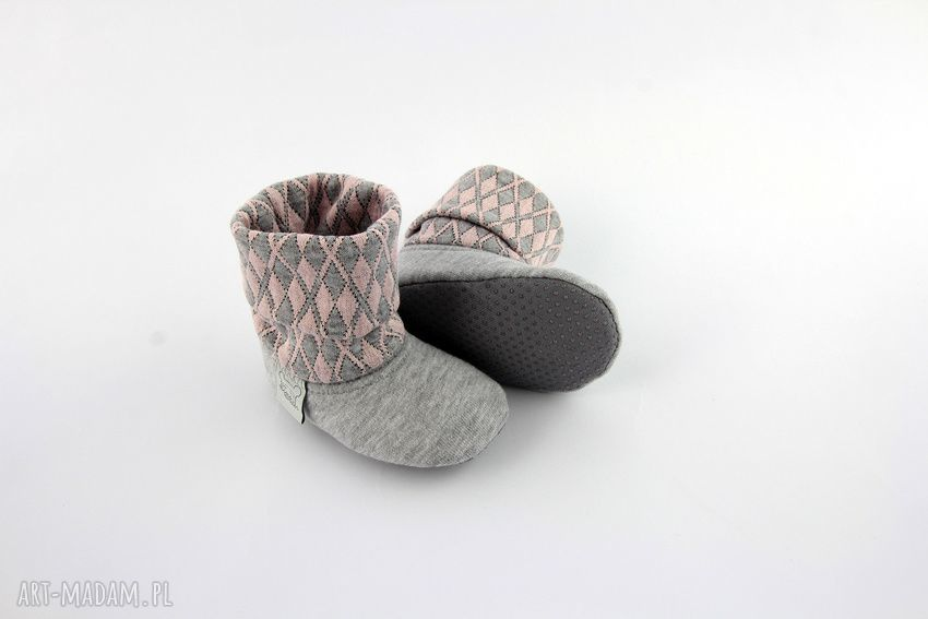 różowe buciki papcie bambosze z golfem / hand made