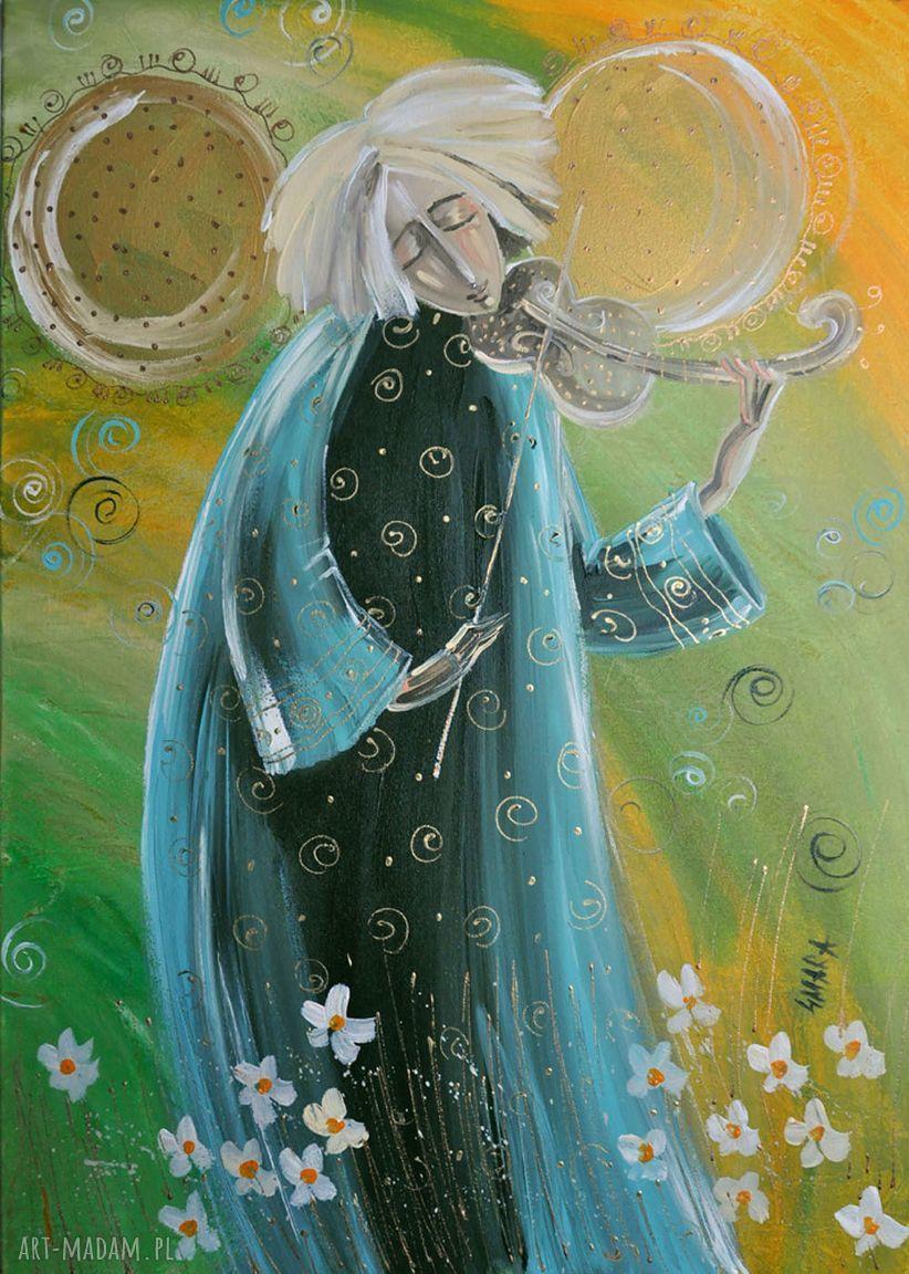 ręczne wykonanie obrazy anioł ze skrzypcami 50x35cm