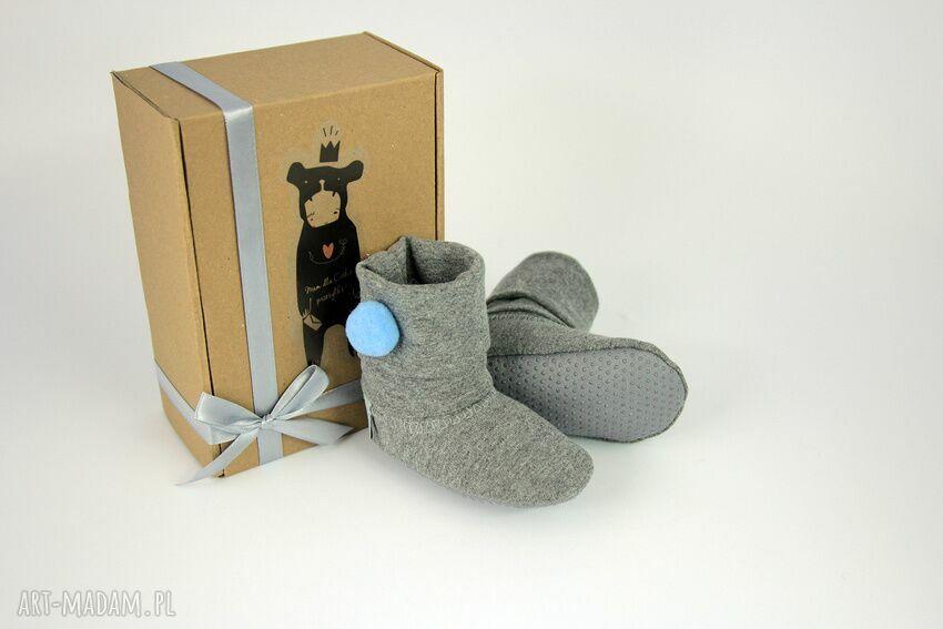handmade buciki bambosze / hand made / niebieski pompon
