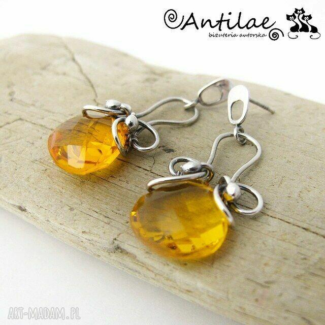 pomarańczowe kolczyki kanarialintu - kwarc, srebro