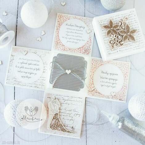 kartki eksplodujące pudełko ślubne dla młodej pary pamiątka ślubu