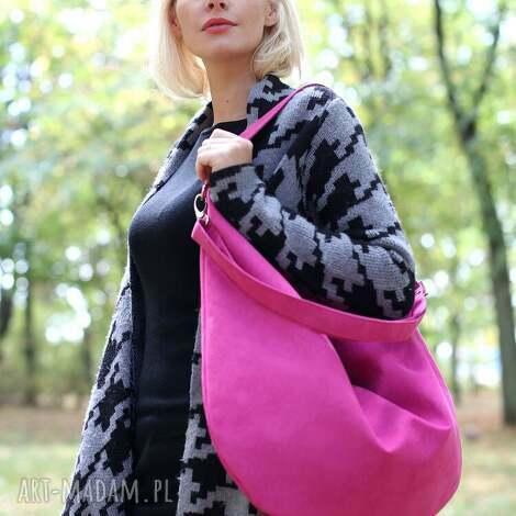 torebki workowata torba z ekologicznego zamszu w kolorze fuksji, torba, torebka