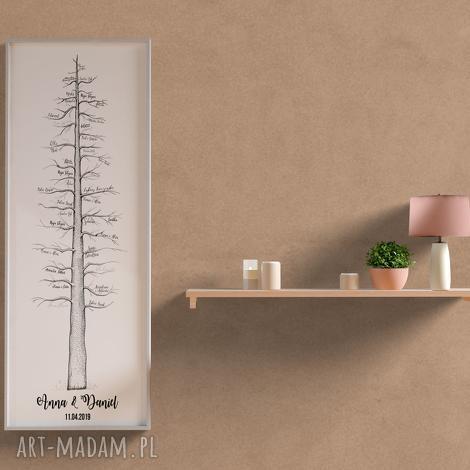 plakat rodzinna sekwoja - wpisy weselne 30x90 cm, ślub, wesele, drzewo, księga
