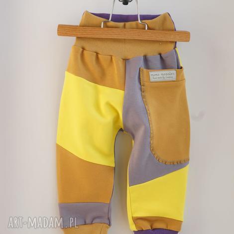mimi monster only one no 47 - spodnie 80 cm miód lawenda, eco, recykling