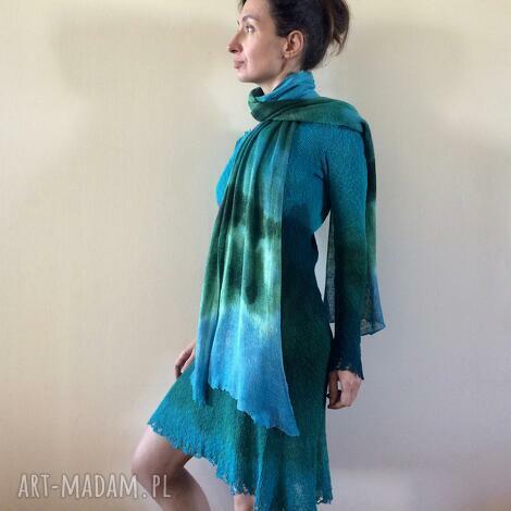 szal lniany zieleń turkus, szalik, ręcznie barwiony, unikatowy, upominek