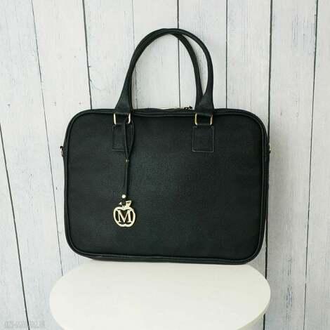 manzana toreba na laptopa 17,3 cala duża ręcznie szyta, złote dodatki torebka