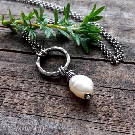 naszyjnik z perłą- srebro 925., modny, prezent srebrny krótki, romantyczny