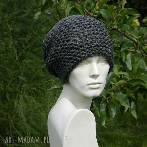 tweed stalowy - na prawo czapka - tweedowa, zimowa, ciepła, krasnal, uniwersalna