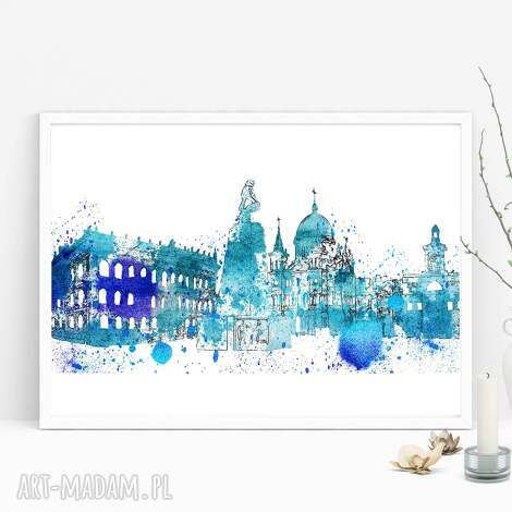 plakaty plakat łódź b2 50x70 cm, łódź, panorama, miasto, akwarele, łodzianin