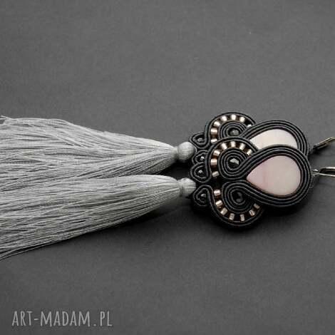 klipsy sutasz z masą perłową i chwostami - sznurek, eleganckie, wiszące