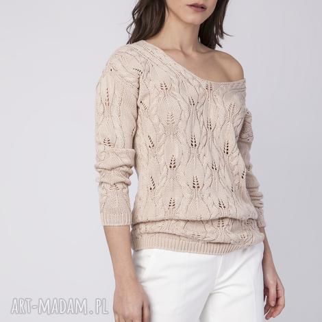 ażurowy sweterek, swe145 beż mkm, dekolt, plecy, odsłąnięte, dzianina, warkocz