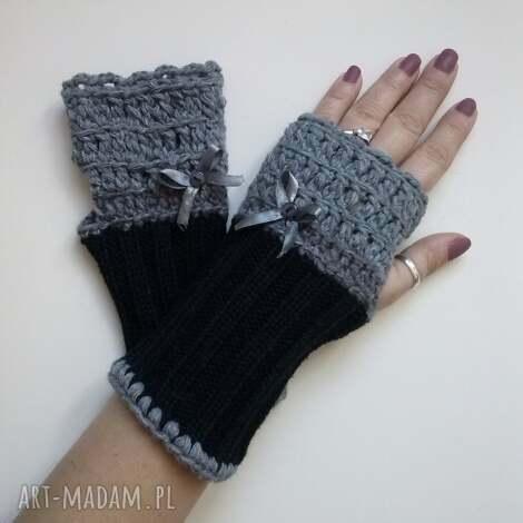 rękawiczki mitenki - rękawiczki, mitenki, dodatki, czarne, jesienne