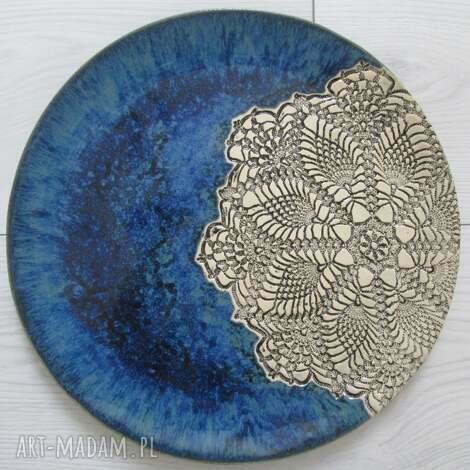 oryginalny prezent, ceramika granatowy koronkowy talerz, koronkowa ceramika, talerz z