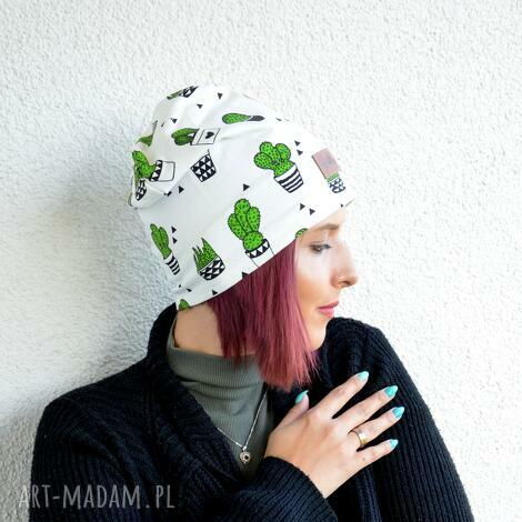 czapka kaktusy kolorowa beanie - czapka, beanie, ciepła, kaktus, sukulent, prezent