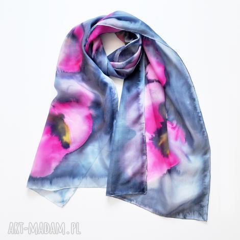 jedwabny malowany szal - różowe maki - szal, szalik, jedwabny szal, malowany szal