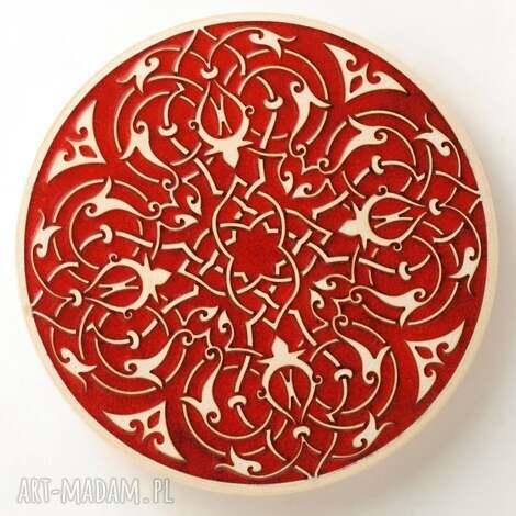 patera tarantella czarwona, patera, ceramiczna talerz na owoce, podstawka pod