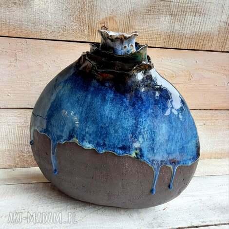 wazony ceramiczny duży wazon antracytowy z kaskadowym szkliwem jedyny
