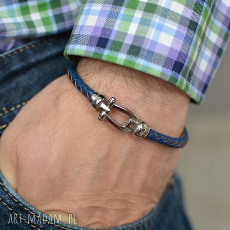 bransoletka skórzana męska uno plait buckle steel niebieska, bransoletka, skóra