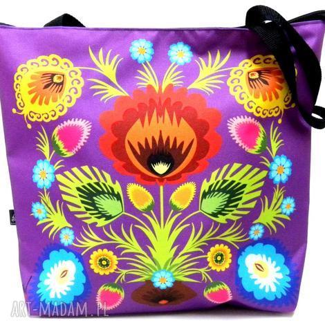 torba na zamek z kwiatem folk, xxl, etno, torba, pojemna