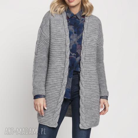 swetry modny kardigan, swe170 szary mkm, sweter, modny, szary, jesień