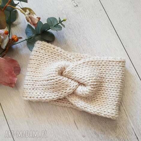 opaski szeroka opaska turban podwójnie robiona handmade ecru, zimowa