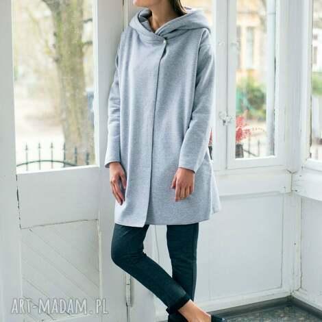 lady grey hood bluzo-płaszcz - oversize, szary, płaszcz, bluza, moda, casual