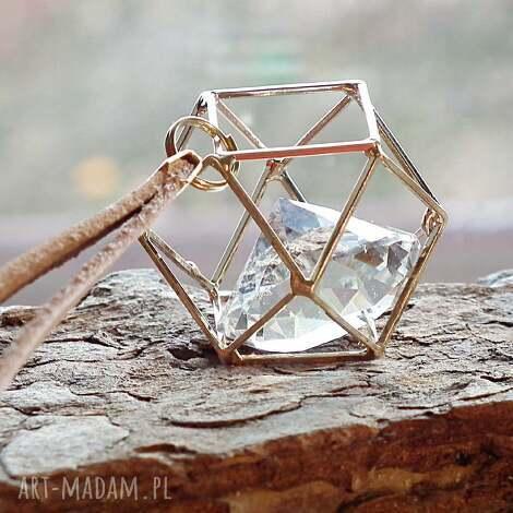 naszyjniki uwięziony kryształ- naszyjnik 3d szkło i skóra naturalna, złoty, złote