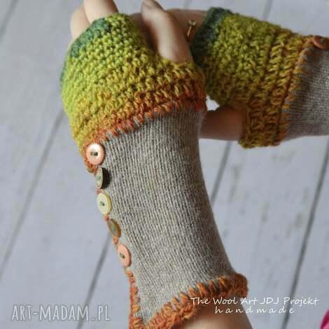 rękawiczki mitenki - rękawiczki, mitenki, beżowe