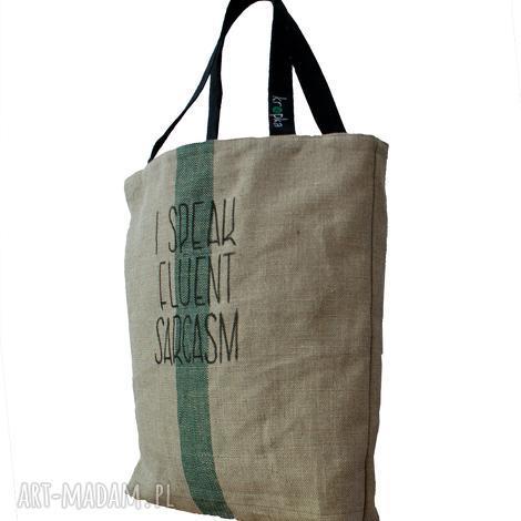 duża torba lniana z hasłem i kieszonką, torba-z-kieszonka, duża-torba, len