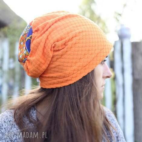 czapka krótka pomarańczowa damska - czapka, etno, sport, dzianina, bawełna