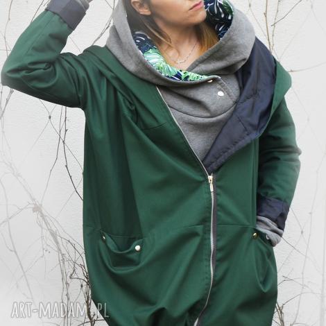 zielony szmaragdowy płaszcz oversize ogromny kaptur na jesień rozmiar l - kurtka z