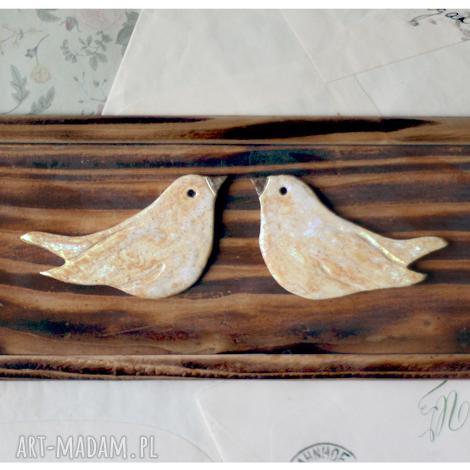 wylegarnia pomyslow wieszak z zakochanymi ptakami, wieszak, drewno, ceramika, ptak