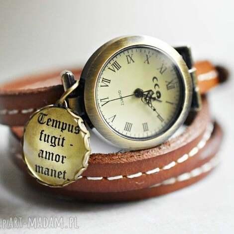 czas przemija, miłość jest wieczna zegarek z prawdziwej skóry - zegarek