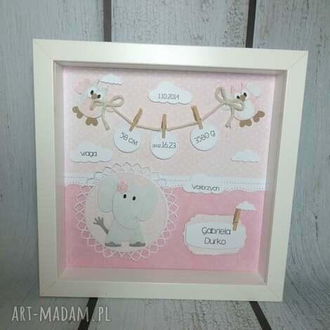 różowa metryczka ze słonikiem - metryczka, narodziny, chrzest, urodziny