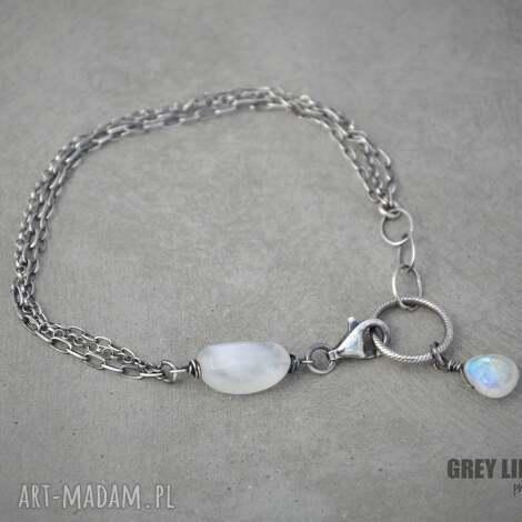 bransoletki moonstone mini, srebro, kamień, księżycowy, minerały