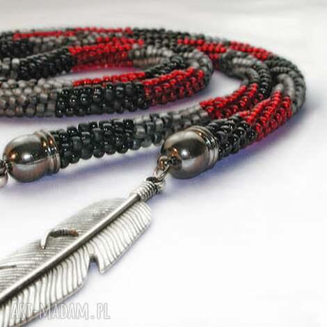 sznur trzy kolory z liśćmi - koraliki, toho, sznur