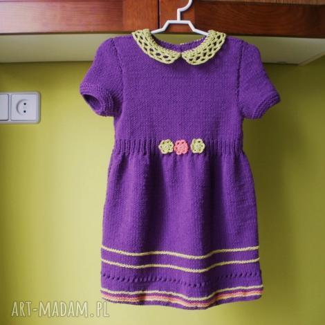 komplet fioletowy, rękodzieło, komplet, sukienka, sweterek, włóczka