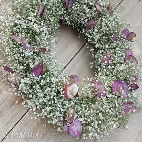 letni wianek na drzwi lub stół, dekoracja, stroik, wianek, lato, biały