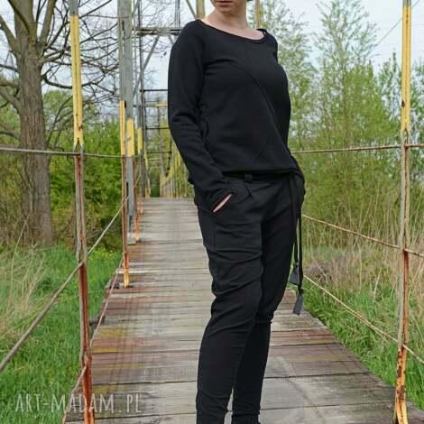 spodnie damskie typu baggi, wygodne, bawełniane, dzianinowe spodnie
